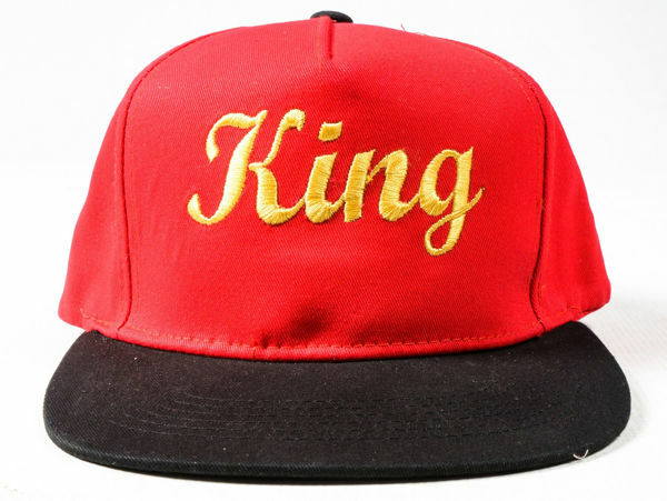 Picture of 100% Cotton King Snapback in Red & Gold
