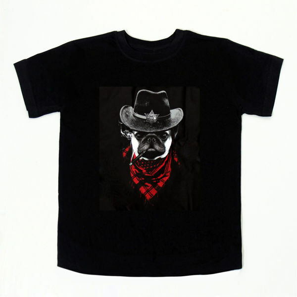 Picture of Cute Cowboy Pug T-Shirt in Black