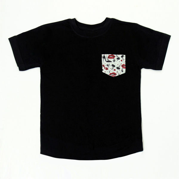 Picture of Nice T-Shirt with Glamour Pocket in Black