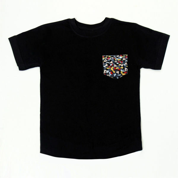 Picture of Nice T-Shirt with Mickey Pocket in Black