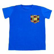 Picture of African Print T-Shirt in Black & Blue